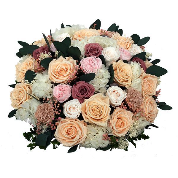 TLK-11 Премиум букет из кремовых и кофейных стабилизированных роз в хрустальной вазе