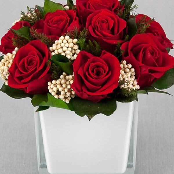 TLK-18 Классическая интерьерная композиция из стабилизированных красных роз