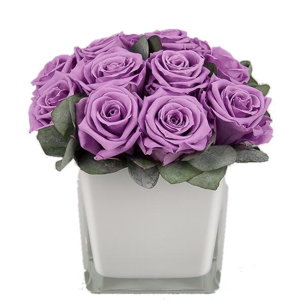 TLK-20 Букет сиреневых роз в квадратном кашпо